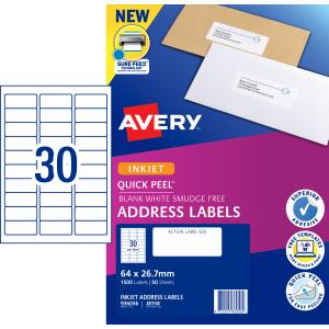 Avery Address Labels with Quick Peel for Inkjet Printers - 64 x 26.7mm - 1500 Labels (J8158)