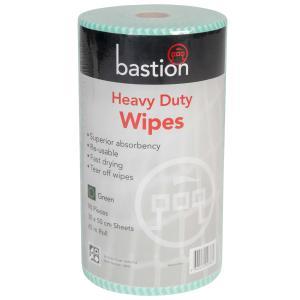 Bastion Heavy Duty Wipes 45m Roll 90 Pieces 30X50cm Green Roll