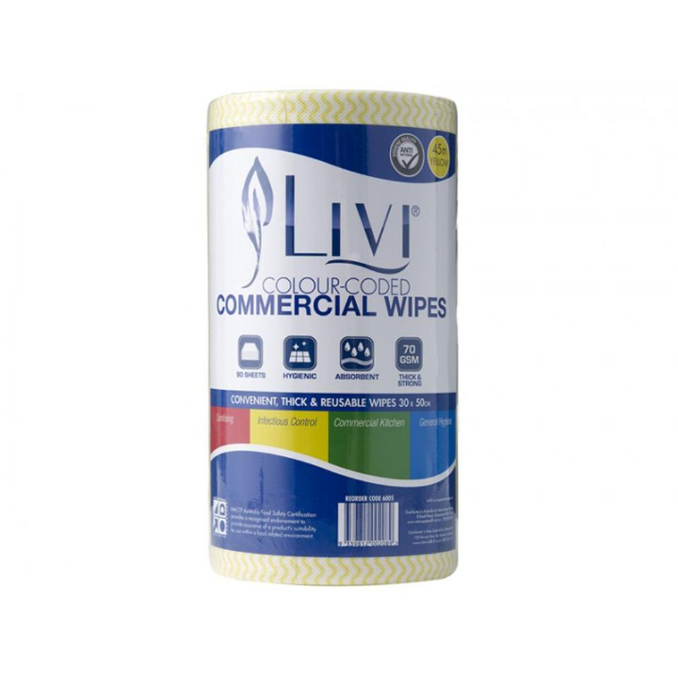 Livi Essentials Yellow Commercial Wipes HACCP Approved 45 Metres With 90 Sheets To A Roll Carton 4