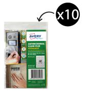 Avery Protect Antimicrobial Film A4 68up Mixed Squares Permanent Pack 10