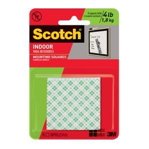 Scotch Permanent Mounting Squares 2.5cm x 2.5cm White Pack 16