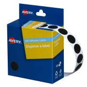 Avery Black Circle Dispenser Labels - 14mm Diameter - 1050 Labels