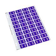 Codafile 162509 Numeric 25mm Label '9' Purple Pack 200 labels