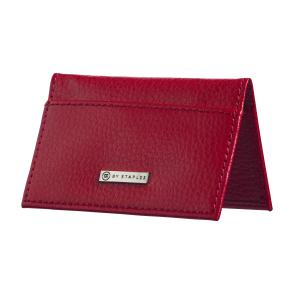 M By Staples Leather Business Card Case 2 Pocket Red