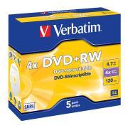 Verbatim DVD+RW 4.7 GB / 4x / 120 Min 5-Pack Jewel Case