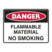 Brady 832662 Sign Danger Flamable Material No Smoking Metal 300X450mm Each