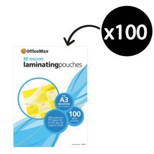 Officemax Laminating Pouch Gloss 80 Micron A3 Pack Of 100