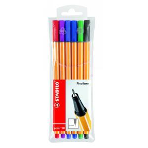 Stabilo Point 88 Fineliner Pen Fine 0.4mm Assorted Colour Multi-Pack Wallet 6