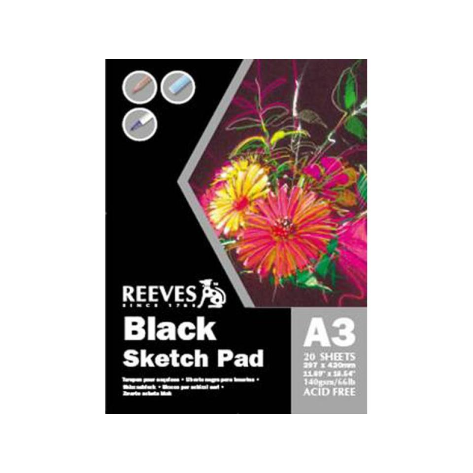Reeves Black Sketch Pad A3 140gsm 20 Sheets