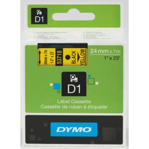 Dymo D1 Label Printer Tape 24mm x 7m - Black On Yellow
