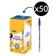 BIC Cristal Original Ballpoint Pen Medium 1.0mm Blue Box 50