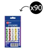 Avery Assorted Star Stickers 14mm diameter 90 Labels