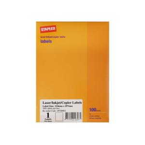 Staples Labels Laser/Inkjet A4 Sheet 1 Label 210X297mm 100 Sheets/Box