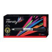 Bic Intensity Grip Permanent Marker Fine Black Box 12