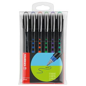 Stabilo Bl@Ck Rollerball Pen Extra Fine 0.5mm Assorted Colour Multi-Pack Wallet 6