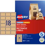 Avery Kraft Brown Rectangle Labels - 62 x 42mm - 270 Labels (L7110)