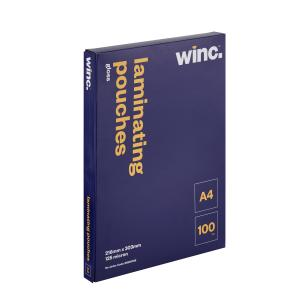 Winc A4 125 Micron Gloss Laminating Pouches 100 Pack