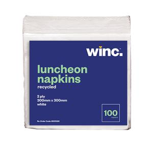 Winc Luncheon Napkin Recycled 2 Ply White 300 x 300mm Pack 100