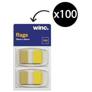 Winc Flags 25 x 43mm Yellow Packet 100