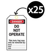 Brady 65502 Lock Out Tags Rev Side#1 B-837 Do Not Operate White/Black Pk25