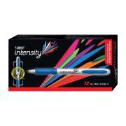 Bic Intensity Grip Permanent Marker Ultra Fine Blue Box 12