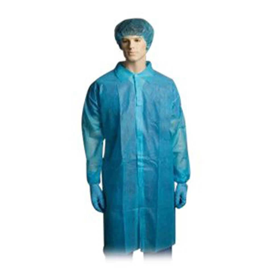 Bastion - Polypropylene Labcoat Blue No Pocket Medium - Carton 100