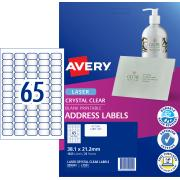 Avery Crystal Clear Address Labels for Laser Printers - 38.1 x 21.2mm - 1625 Labels (L7551)