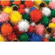 Colorific Glitter Pom Poms Assorted Sizes & Colours Pack Of 200