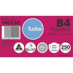 Tudor 140230 Envelopes White Pocket Peel-N-Seal 353X250mm B4 Box 250