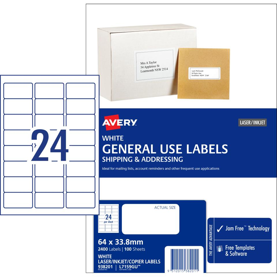 Avery General Use Labels - 64 x 33.8 mm - 2400 Labels (L7159GU)