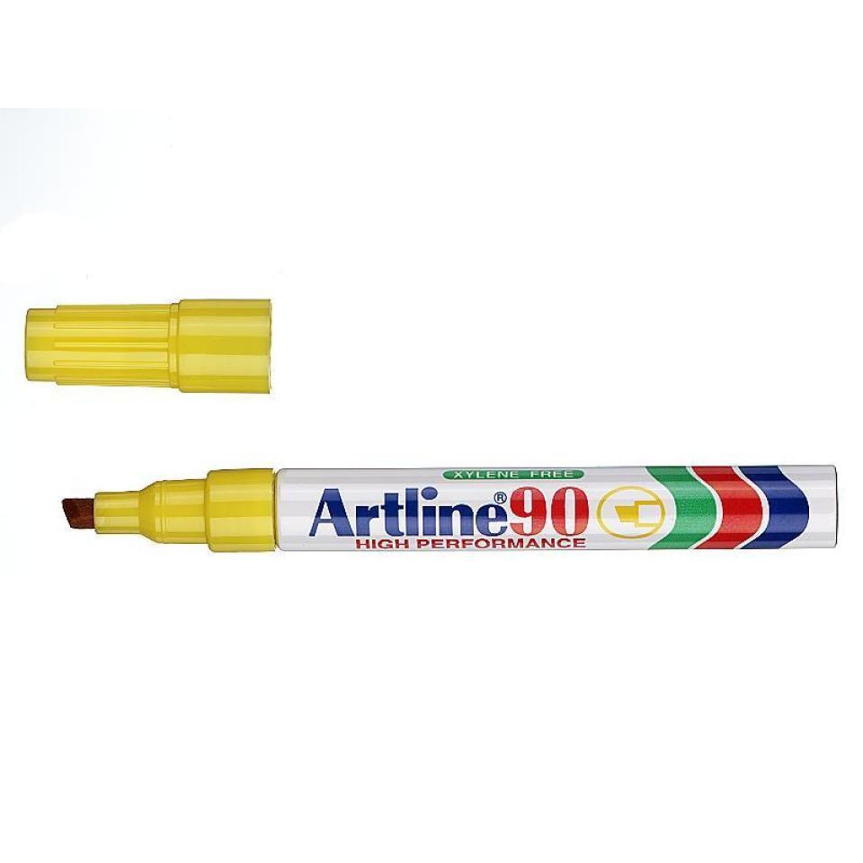 Artline 90 Permanent Marker Chisel Tip 2-5mm Yellow