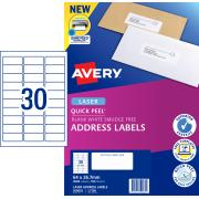Avery Address Labels with Quick Peel for Laser Printers - 64 x 26.7mm - 3000 Labels (L7158)