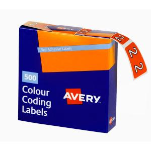 Avery 2 Side Tab Colour Coding Labels for Lateral Filing - 25 x 38mm - Orange - 500 Labels