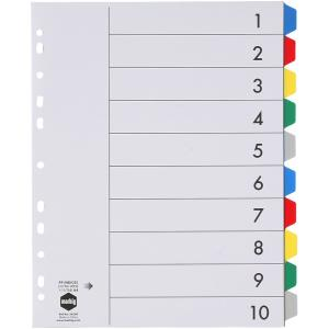 Marbig Dividers Polypropylene Coloured Tab Extra Wide A4 White 10 Tab