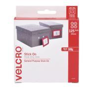 VELCRO Brand Stick On Hook Only 22mm Dot White Pack 125