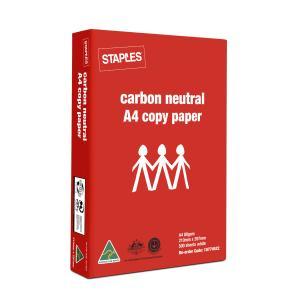Staples A4 Carbon Neutral Copy Paper 80gsm White Box 5 Reams