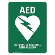 Brady 872718 Sign Automated External Defibrillator Metal 300H X 225W mm Green/White