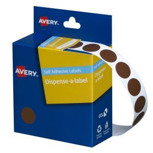 Avery Brown Circle Dispenser Labels - 14mm diameter - 1050 Labels
