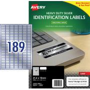 Avery Silver Heavy Duty Labels for Laser Printers - 25.4 x 10mm - 3780 Labels (L6008)