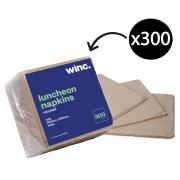 Winc Luncheon Napkin 1 Ply 300X300mm Recycled Brown Pack 300