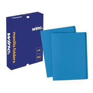 Winc Manilla Folder A4 Blue Box 100