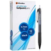 Officemax Black Gel Pen 0.7mm Rubber Grip Box 12