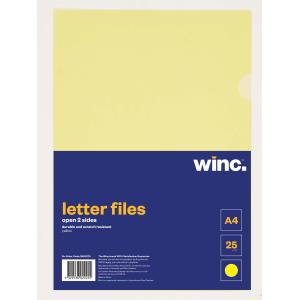 Winc Letter File A4 Open 2 Sides Yellow Pack 25