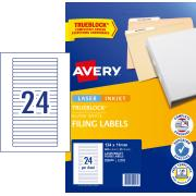 Avery White Lever Arch Filing Labels - 134 x 11mm - 600 Labels (L7170)