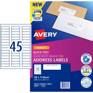 Avery Address Labels with Quick Peel for Inkjet Printers - 58 x 17.8mm - 2250 Labels (J8156)