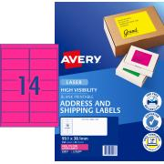 Avery Fluoro Shipping Labels for Laser Printers - 99.1 x 38.1mm - 350 Labels (L7163FP)