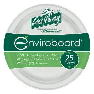 Castaway Enviroboard Round Dinner Paper Plate 230X230X20mm White Pack 25
