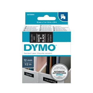 Dymo D1 Label Printer Tape 12mm x 7m White On Black