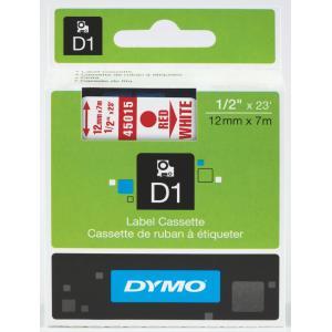 Dymo D1 Label Printer Tape 12mm x 7m Red On White