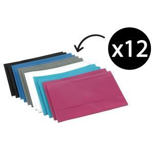Winc Document Wallet Polypropylene Foolscap Opaque Hook Loop Light Assorted Pack 12